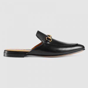 Gucci Men Leather Horsebit Slipper 1.3 cm Heel-Black