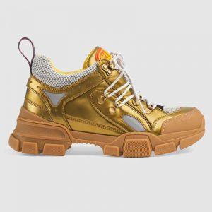 Gucci Unisex Flashtrek Sneaker in Gold Metallic Leather 5.6 cm Heel