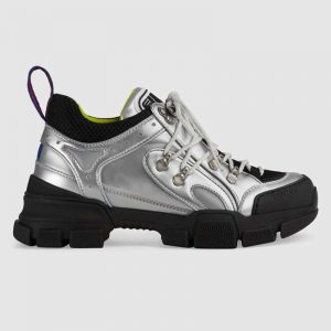 Gucci Unisex Flashtrek Sneaker with Crystals in Silver Metallic Leather 5.6 cm Heel