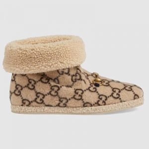 Gucci Unisex GG Wool Ankle Boot in Textured Fabrics-Beige