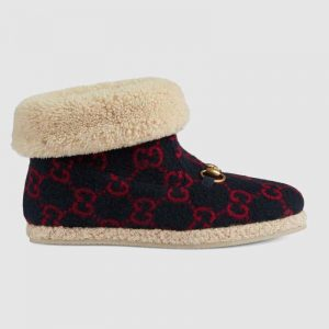 Gucci Unisex GG Wool Ankle Boot in Textured Fabrics-Navy