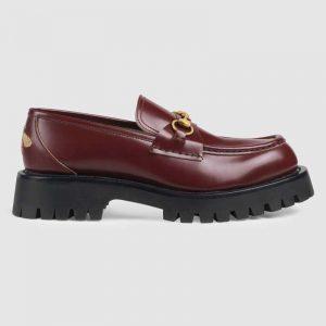 Gucci Unisex Leather Lug Sole Horsebit Loafer in Bordeaux Leather 4.6 cm Heel