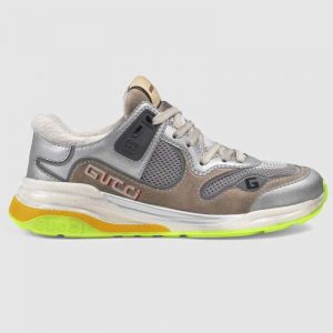 Gucci Unisex Ultrapace Sneaker with Embroidered Gucci and Interlocking G in Metallic Leather-Silver