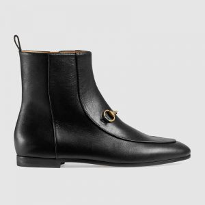 Gucci Women Gucci Jordaan Leather Ankle Boot in Black Leather 1.3 cm Heel