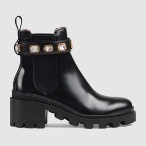 Gucci Women Gucci Leather Ankle Boot with Belt in Black Leather 6 cm Heel
