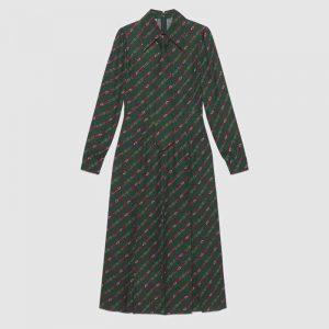 Gucci Women Interlocking G and Belts Print Dress in 100% Silk-Green