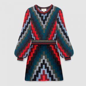 Gucci Women Multicolor Geometric Pattern Wool Knit Mini Dress-Blue