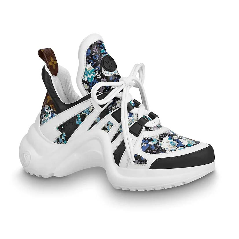 Louis Vuitton Lv Unisex Lv Archlight Sneaker In Flower Print Calf Leather Blue Lulux