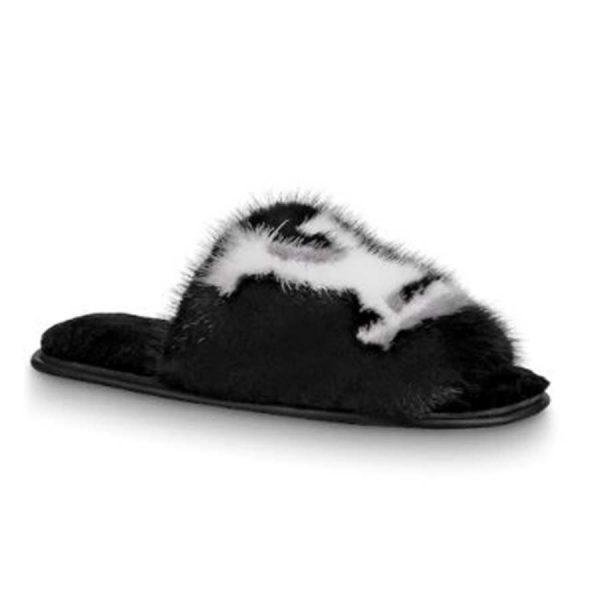 Louis Vuitton LV Women Homey Flat Mule in Mink Fur-Black