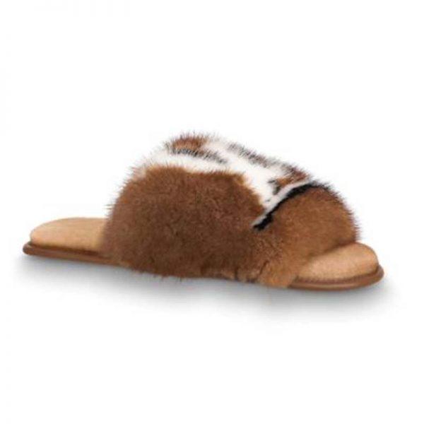 Louis Vuitton LV Women Homey Flat Mule in Mink Fur-Brown