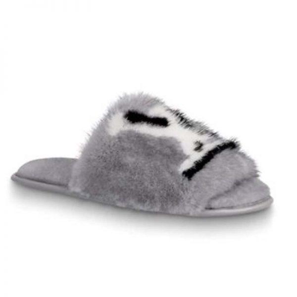 Louis Vuitton LV Women Homey Flat Mule in Mink Fur-Grey