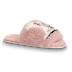 Louis Vuitton LV Women Homey Flat Mule in Mink Fur-Pink