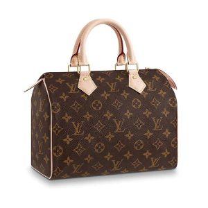 Louis Vuitton LV Women Speedy 25 Bag in Monogram Coated Canvas-Brown