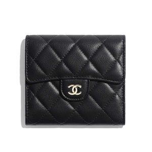 Chanel Women Classic Small Flap Wallet in Lambskin & Gold-Tone Metal-Black