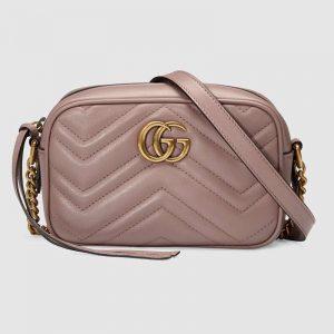 Gucci GG Women GG Marmont Matelassé Mini Bag in Matelassé Chevron Leather Double G-Pink