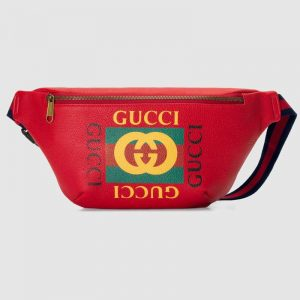 Gucci GG Men Gucci Print Leather Belt Bag in Leather with Gucci Vintage Logo-Red