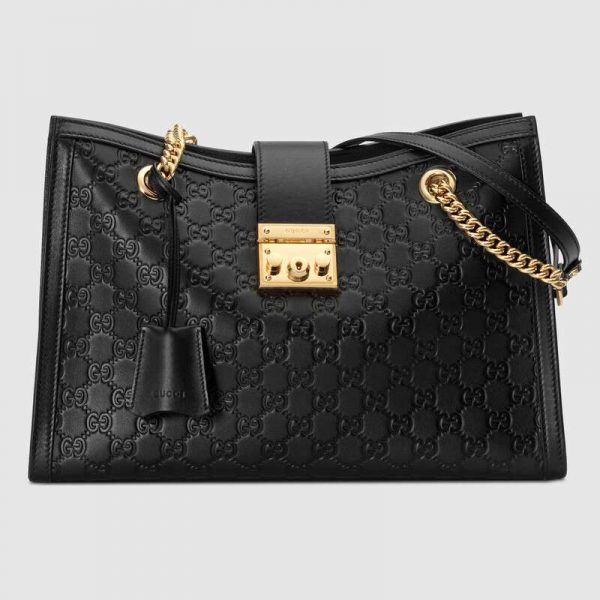 Gucci GG Women Padlock GG Medium Shoulder Bag in GG Supreme Canvas with Leather-Black
