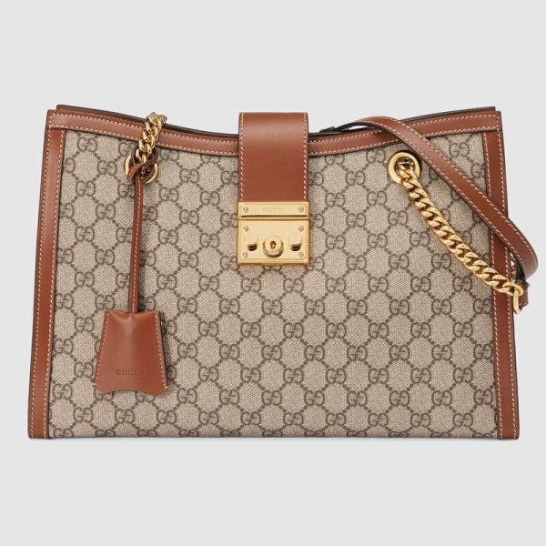 Gucci GG Women Padlock GG Medium Shoulder Bag in GG Supreme Canvas with Leather-Brown