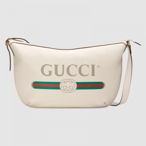 Gucci GG Unisex Gucci Print Half-Moon Hobo Bag in Leather with Gucci Vintage Logo-White