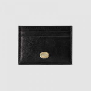 Gucci GG Men Card Case with Interlocking G in Black Soft Leather