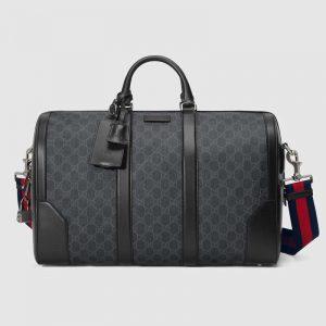 Gucci GG Men GG Black Carry-On Duffle in BlackGrey Soft GG Supreme