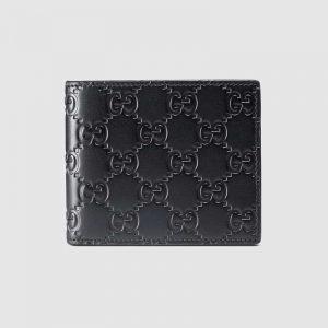 Gucci GG Men Gucci Signature Bi-Fold Wallet in Black Leather