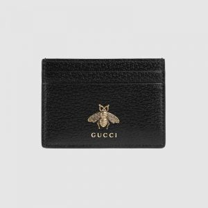 Gucci GG Unisex Animalier Leather Card Case in Black Leather