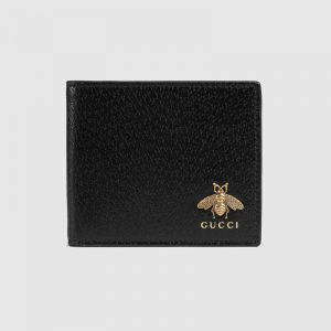 Gucci GG Unisex Animalier Leather Wallet in Black Leather