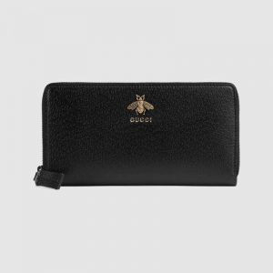 Gucci GG Unisex Animalier Leather Zip Around Wallet in Black Leather