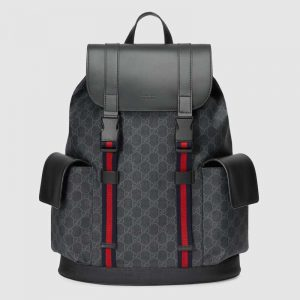 Gucci GG Unisex GG Black Backpack in BlackGrey Soft GG Supreme Canvas