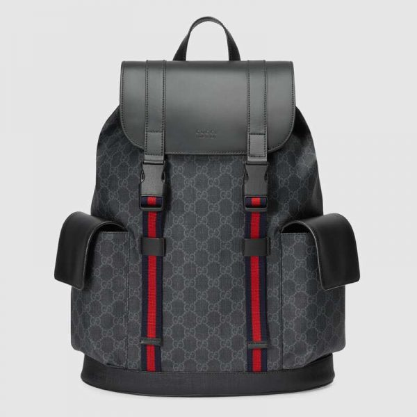 Gucci GG Unisex GG Black Backpack in BlackGrey Soft GG Supreme Canvas