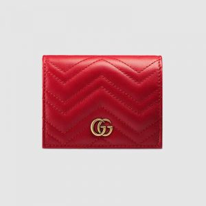 Gucci GG Unisex GG Marmont Card Case Wallet in Matelassé Chevron Leather-Red