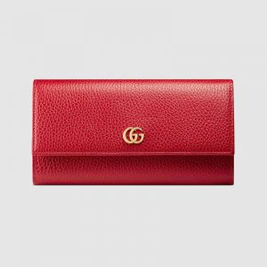 Gucci GG Unisex GG Marmont Leather Continental Wallet in Leather-Red