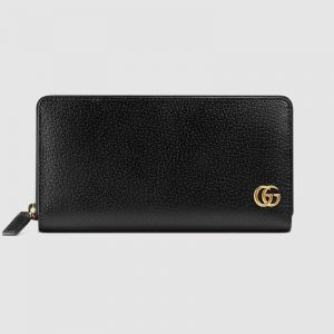 Gucci GG Unisex GG Marmont Leather Zip Around Wallet in Black Leather