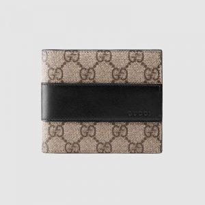 Gucci GG Unisex GG Supreme Wallet in BeigeEbony GG Supreme Canvas
