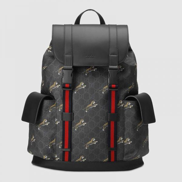 Gucci GG Unisex Gucci Bestiary Backpack with Tigers in BlackGrey Soft GG Supreme Canvas