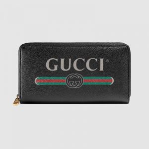 Gucci GG Unisex Gucci Print Leather Zip Around Wallet with Gucci Vintage Logo