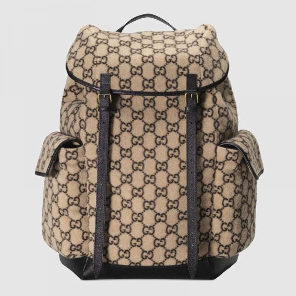Gucci GG Unisex Large GG Wool Backpack in Wool and Leather-Beige