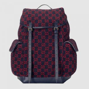 Gucci GG Unisex Large GG Wool Backpack in Wool and Leather-Blue