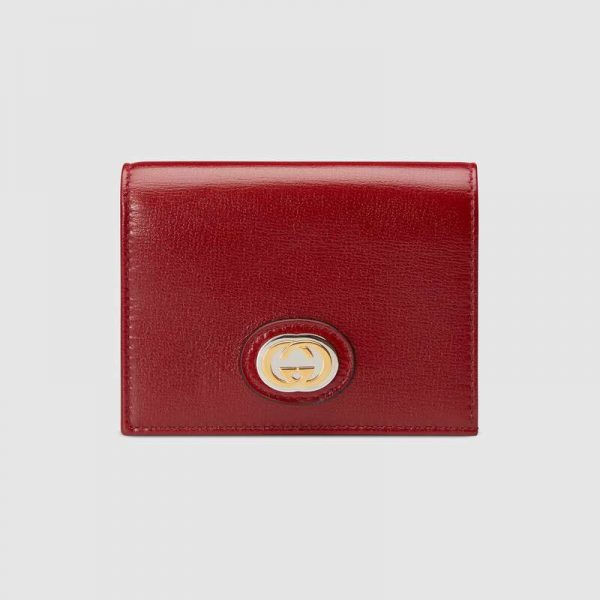 Gucci GG Unisex Leather Card Case Wallet in Textured Leather-Maroon