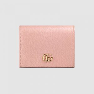 Gucci GG Unisex Leather Card Case Wallet in Textured Leather with Double G-Pink