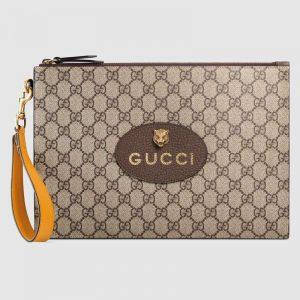 Gucci GG Unisex Neo Vintage GG Supreme Pouch in BeigeEbony GG Supreme Canvas