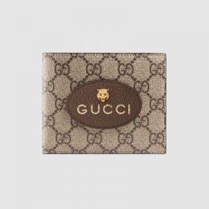 Gucci GG Unisex Neo Vintage GG Supreme Wallet in BeigeEbony GG Supreme Canvas