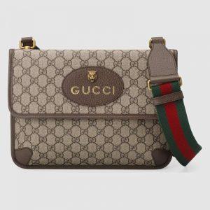 Gucci GG Unisex Neo Vintage Messenger Bag in BeigeEbony GG Supreme Canvas