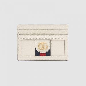 Gucci GG Unisex Ophidia Card Case in Leather with Blue and Red House Web-White