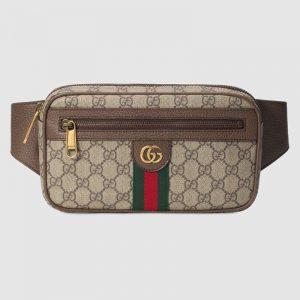 Gucci GG Unisex Ophidia GG Belt Bag in BeigeEbony Soft GG Supreme Canvas