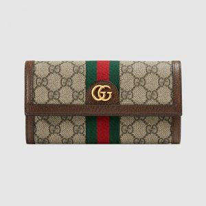Gucci GG Unisex Ophidia GG Continental Wallet in BeigeEbony GG Supreme Canvas