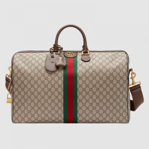 Gucci GG Unisex Ophidia GG Large Carry-On Duffle in BeigeEbony GG Supreme Canvas