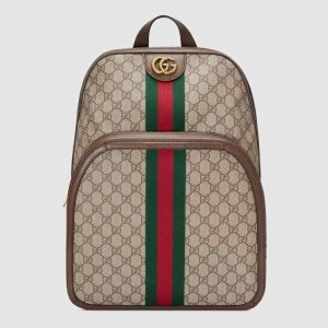 Gucci GG Unisex Ophidia GG Medium Backpack in BeigeEbony GG Supreme Canvas