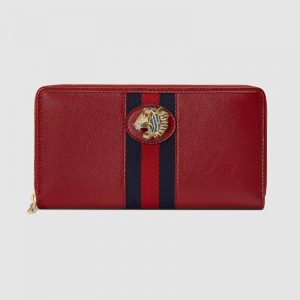Gucci GG Unisex Rajah Zip Around Wallet in Cerise Leather with a Vintage Effect-Red